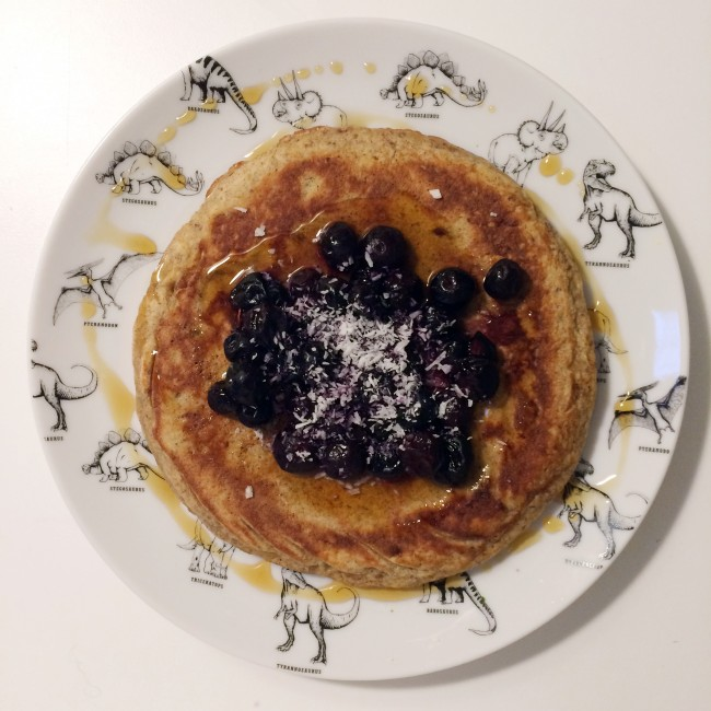 banana and coconut pancakes with blueberries