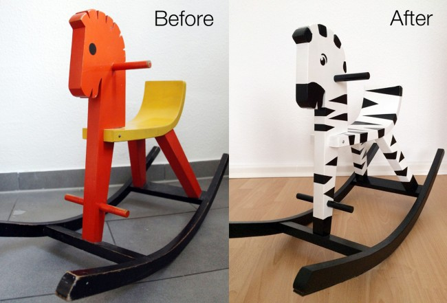 Rocking Zebra Before and After