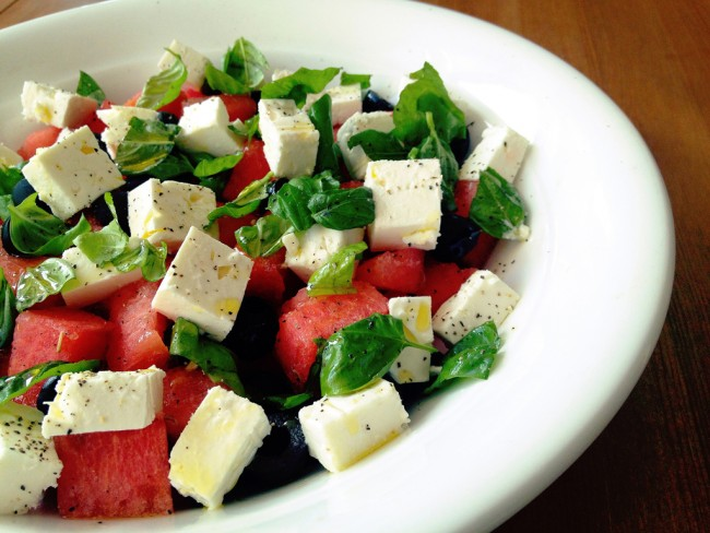 watermelon salad with basil
