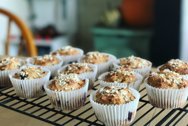 blueberry pear muffins preview