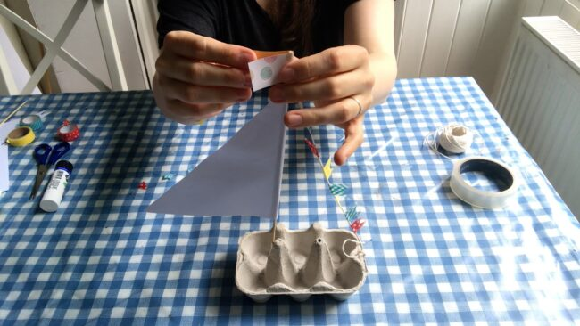 Recycled Egg Carton Boat