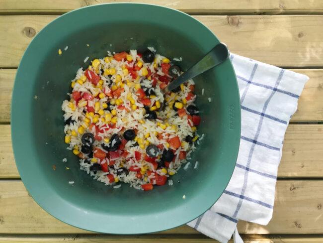 Multi-coloured picnic rice salad
