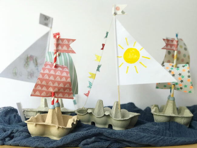Recycled Egg Carton Boats