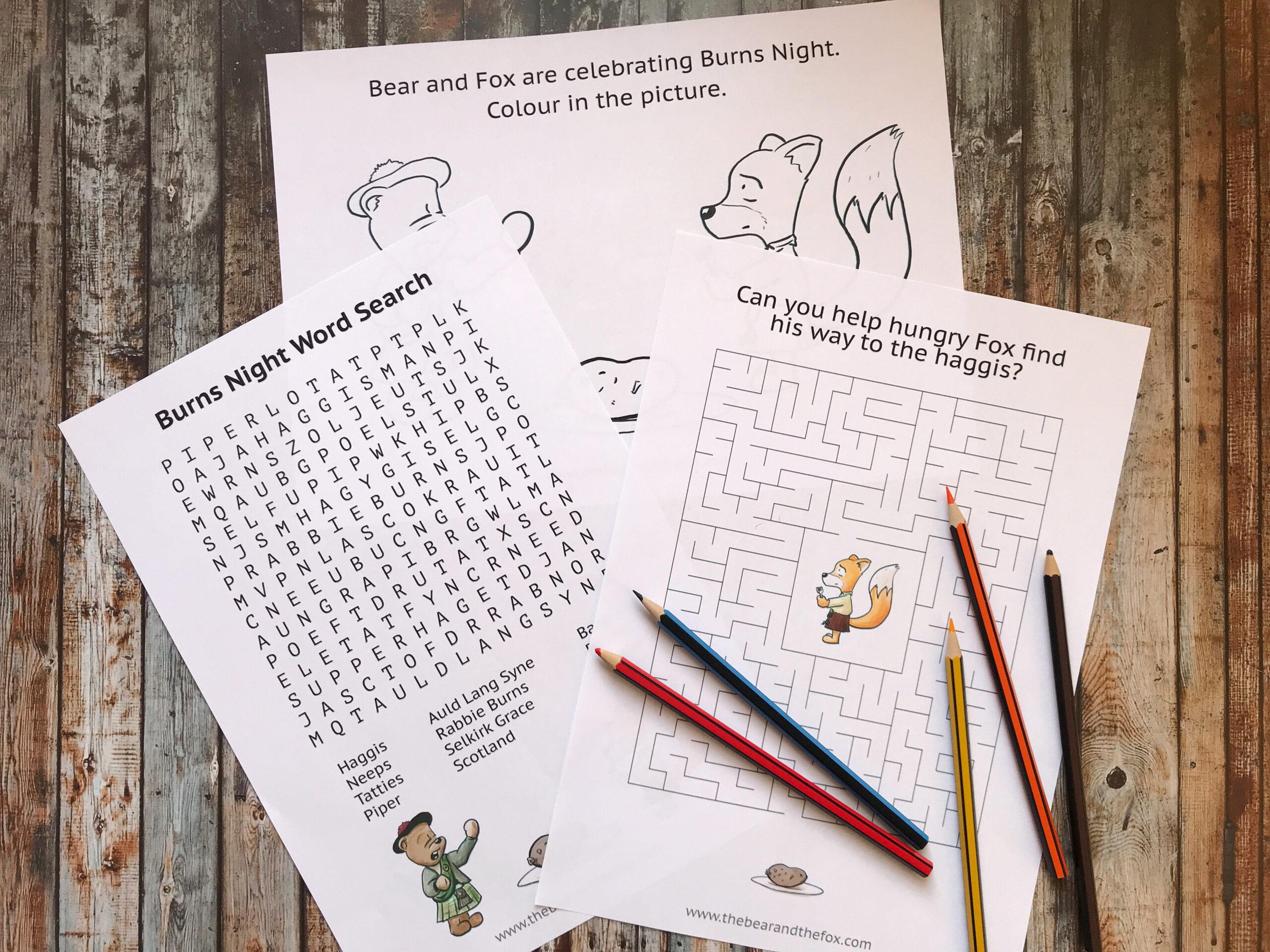 Burns Night Activity Puzzle Pack