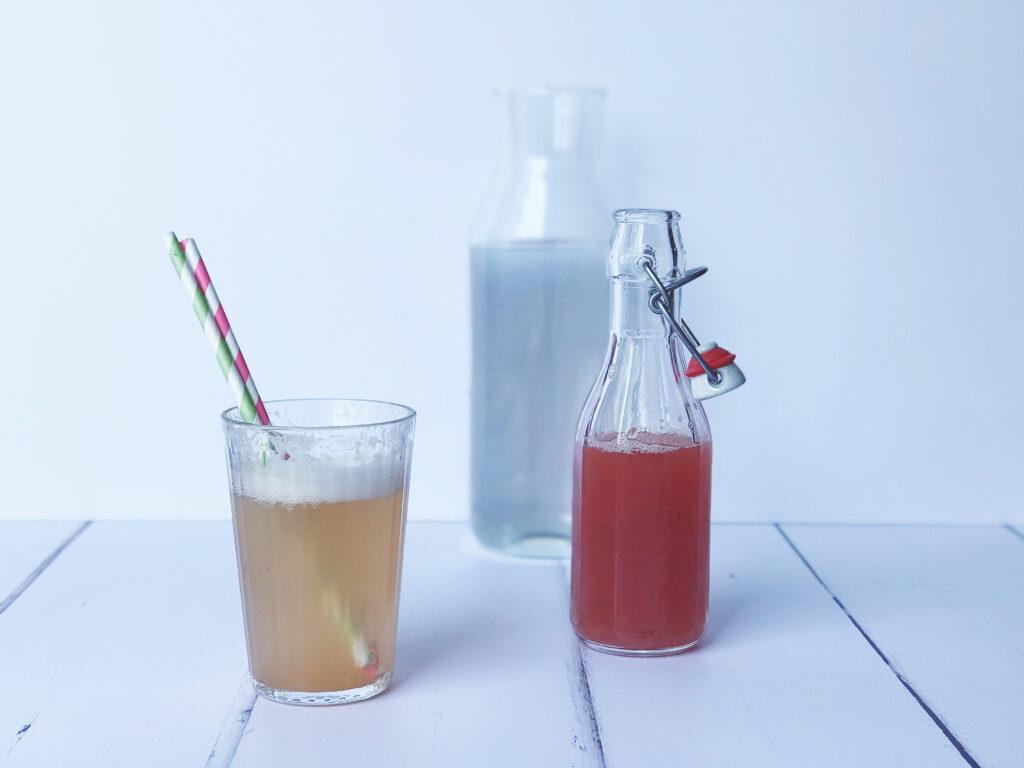 homemade rhubarb and mint lemonade