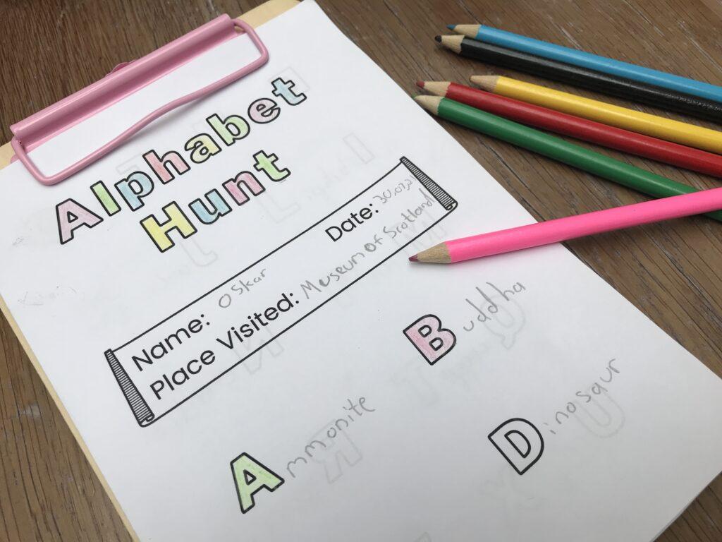 Museum Alphabet Hunt Activity Sheet